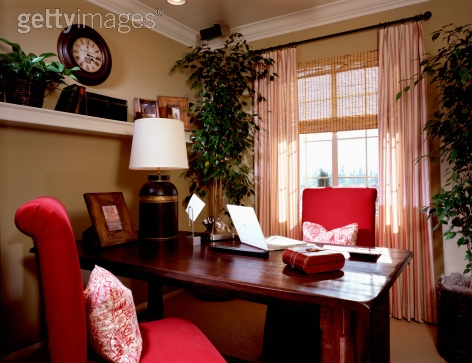 Royalty-free Image: Cozy Home Office with Red Chairs